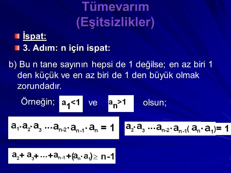 Tümevarım (Eşitsizlikler) İspat: 3. Adım: n için ispat: a)Bu n tane sayının hepsi de 1 ise toplamları n dir ve teorem bu özel durumda doğrudur.