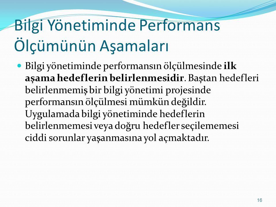 Bilgi Yönetiminde Performans Ölçümünün Aşamaları Bilgi yönetiminde performansın ölçülmesinde ilk aşama hedeflerin belirlenmesidir. Baştan hedefleri be