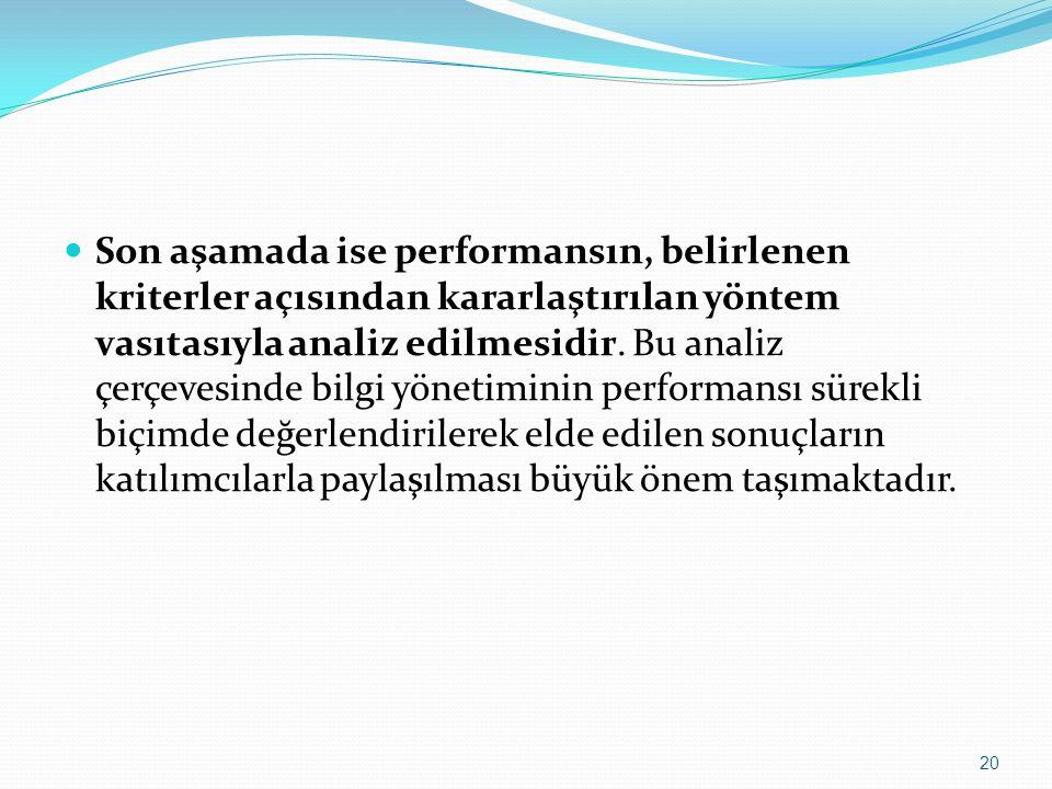Son aşamada ise performansın, belirlenen kriterler açısından kararlaştırılan yöntem vasıtasıyla analiz edilmesidir. Bu analiz çerçevesinde bilgi yönet
