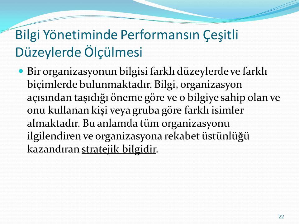 Bilgi Yönetiminde Performansın Çeşitli Düzeylerde Ölçülmesi Bir organizasyonun bilgisi farklı düzeylerde ve farklı biçimlerde bulunmaktadır. Bilgi, or