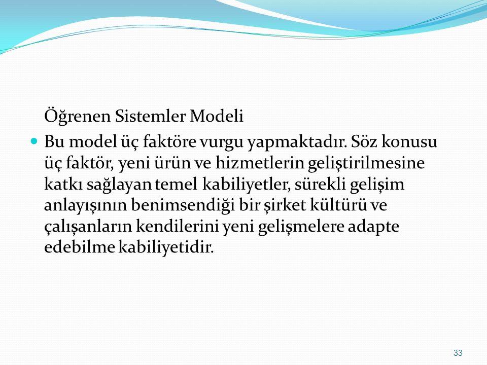 Öğrenen Sistemler Modeli Bu model üç faktöre vurgu yapmaktadır. Söz konusu üç faktör, yeni ürün ve hizmetlerin geliştirilmesine katkı sağlayan temel k