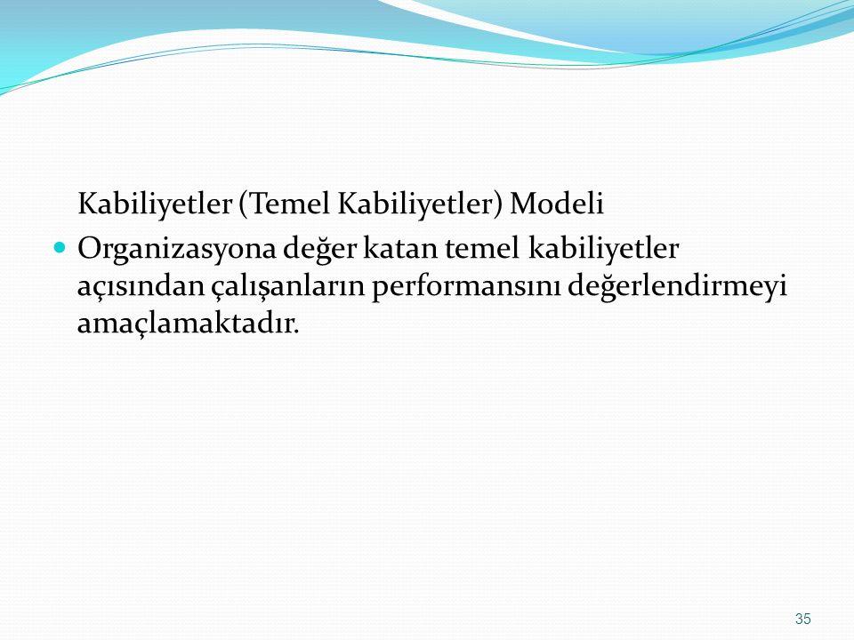 Kabiliyetler (Temel Kabiliyetler) Modeli Organizasyona değer katan temel kabiliyetler açısından çalışanların performansını değerlendirmeyi amaçlamakta