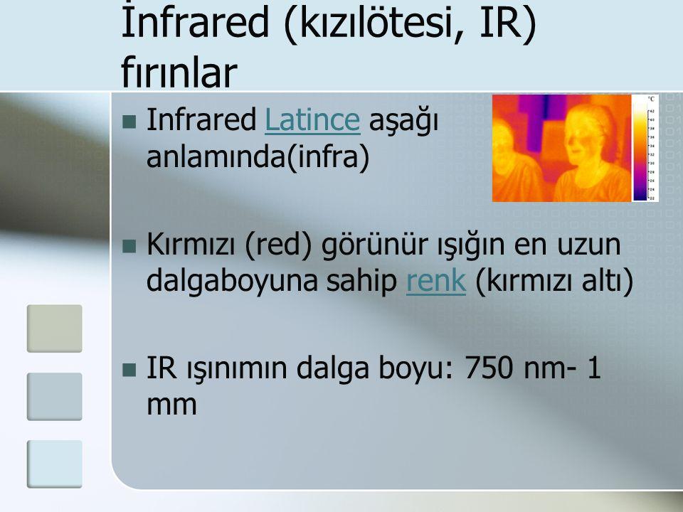 İnfrared (kızılötesi, IR) fırınlar Infrared Latince aşağı anlamında(infra)Latince Kırmızı (red) görünür ışığın en uzun dalgaboyuna sahip renk (kırmızı