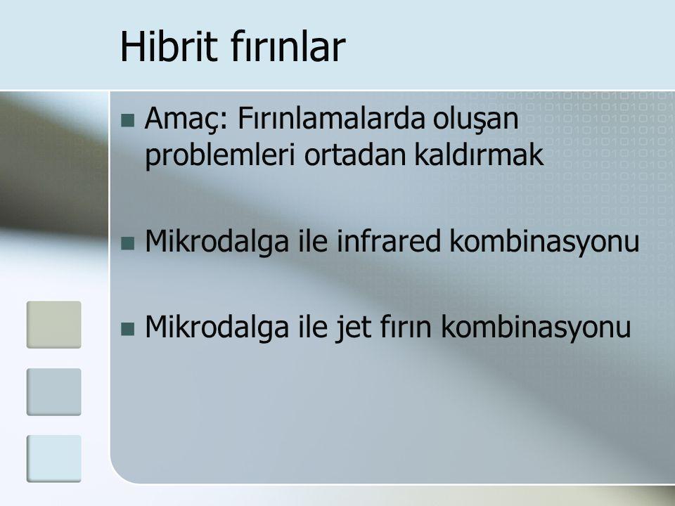 Hibrit fırınlar Amaç: Fırınlamalarda oluşan problemleri ortadan kaldırmak Mikrodalga ile infrared kombinasyonu Mikrodalga ile jet fırın kombinasyonu