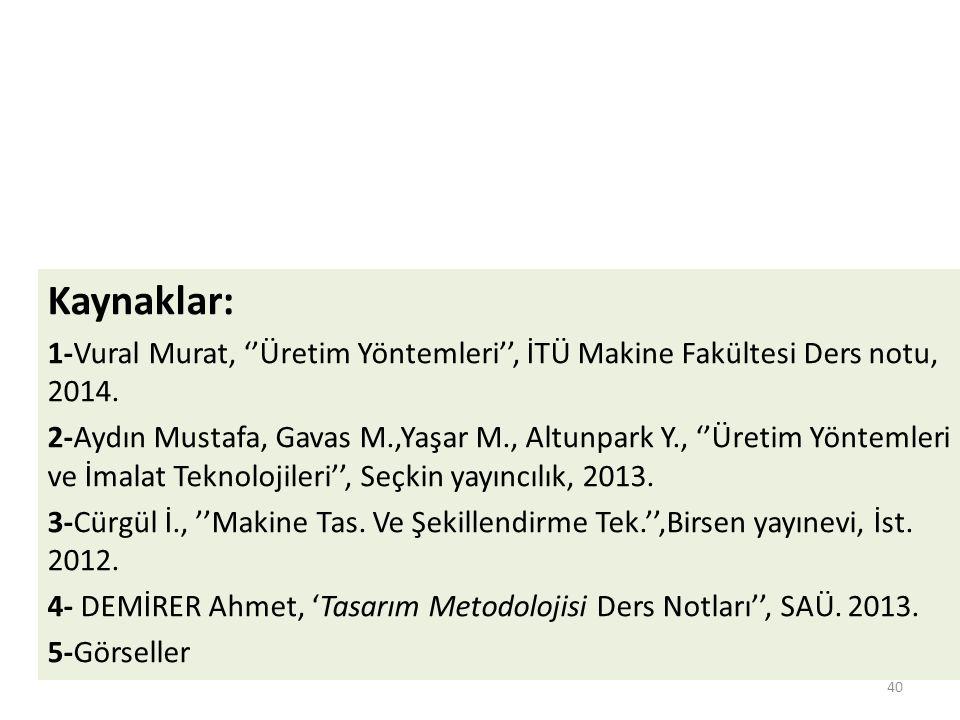 Kaynaklar: 1-Vural Murat, ''Üretim Yöntemleri'', İTÜ Makine Fakültesi Ders notu, 2014. 2-Aydın Mustafa, Gavas M.,Yaşar M., Altunpark Y., ''Üretim Yönt
