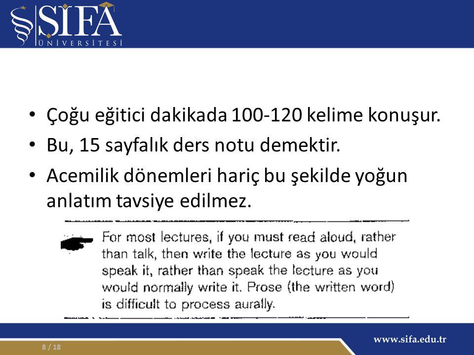 Çoğu eğitici dakikada 100-120 kelime konuşur. Bu, 15 sayfalık ders notu demektir.