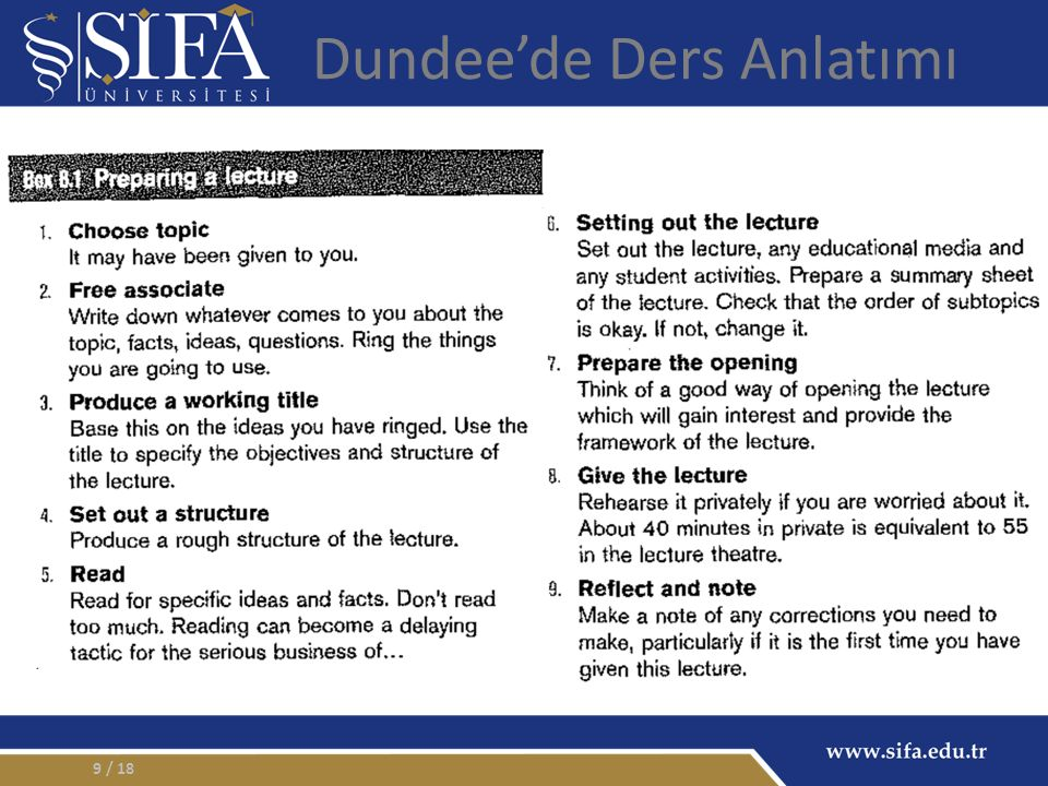 9 Dundee'de Ders Anlatımı