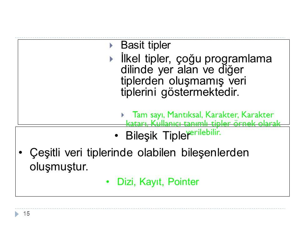  Basit tipler  İlkel tipler, çoğu programlama dilinde yer alan ve diğer tiplerden oluşmamış veri tiplerini göstermektedir.