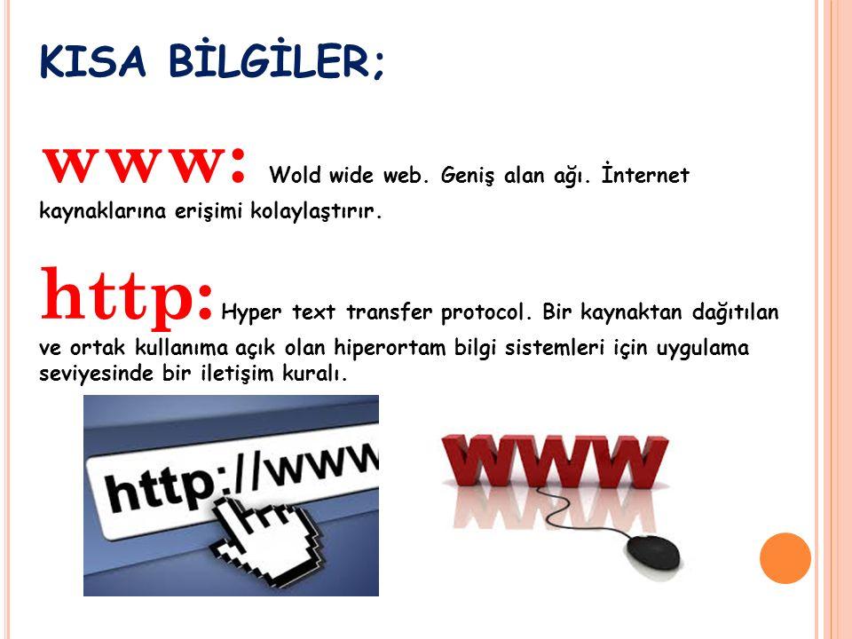 KISA BİLGİLER; www: Wold wide web. Geniş alan ağı.