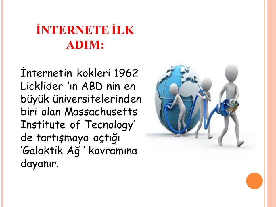 İNTERNETE İLK ADIM: İnternetin kökleri 1962 Licklider 'ın ABD nin en büyük üniversitelerinden biri olan Massachusetts Institute of Tecnology' de tartışmaya açtığı 'Galaktik Ağ ' kavramına dayanır.