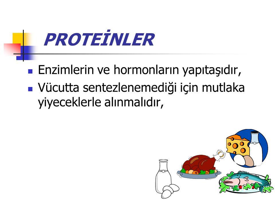 PROTEİNLER Enzimlerin ve hormonların yapıtaşıdır, Vücutta sentezlenemediği için mutlaka yiyeceklerle alınmalıdır,