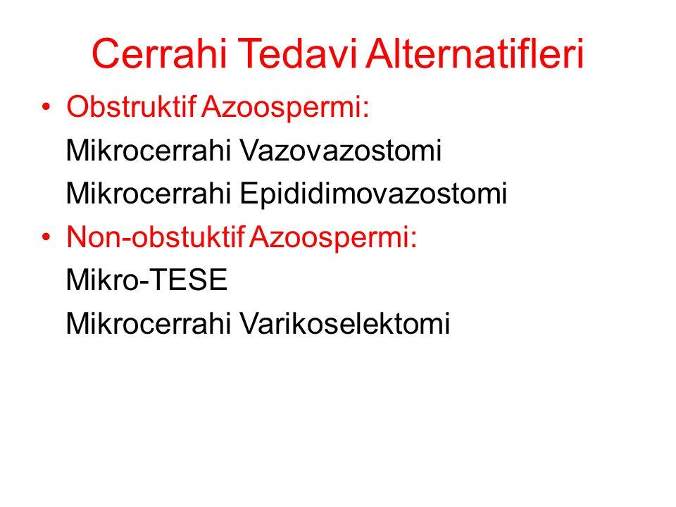 Cerrahi Tedavi Alternatifleri Obstruktif Azoospermi: Mikrocerrahi Vazovazostomi Mikrocerrahi Epididimovazostomi Non-obstuktif Azoospermi: Mikro-TESE Mikrocerrahi Varikoselektomi
