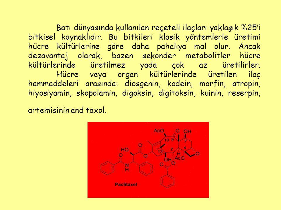 Batı dünyasında kullanılan reçeteli ilaçları yaklaşık %25'i bitkisel kaynaklıdır. Bu bitkileri klasik yöntemlerle üretimi hücre kültürlerine göre daha