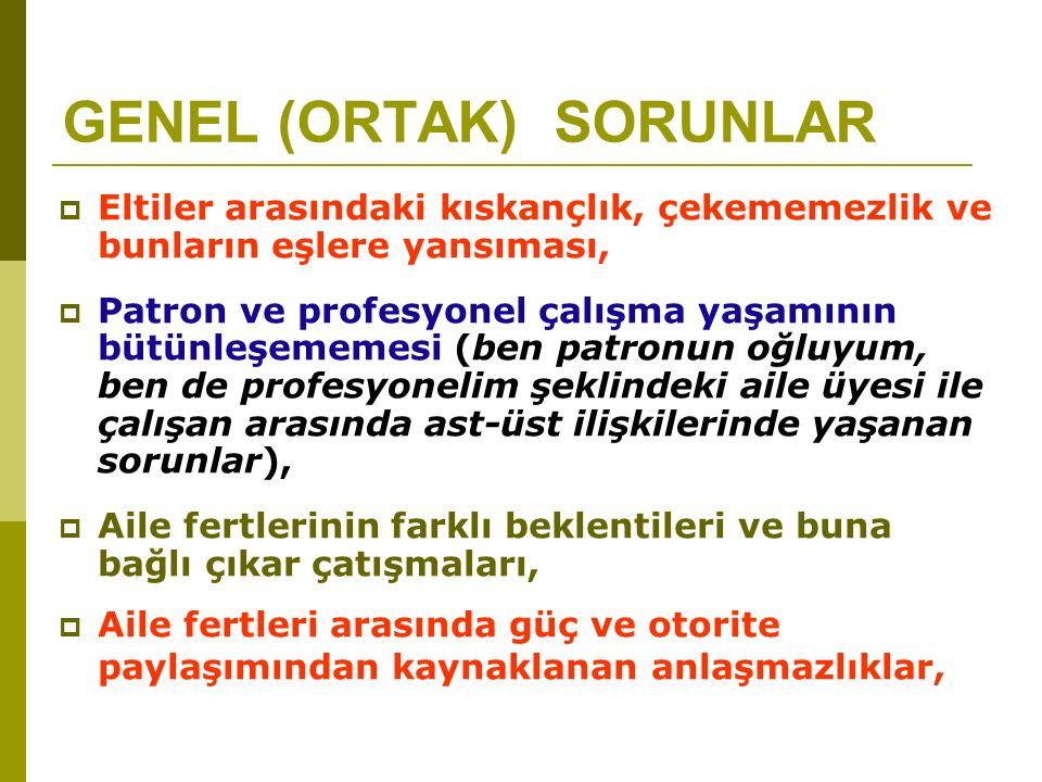 GENEL (ORTAK)SORUNLAR  Türk insanının kültürel ve sosyolojik olarak ortaklık felsefesini içselleştirememesi,  Patron ( çoğunlukla baba veya büyük kardeş)'nun her şeyi bildiği düşüncesine sahip olması ve nihai kararın her zaman büyük patron tarafından verilmesi,  Birinci kuşağın yönetimden bir türlü elini çekmemesi,  Herkesin yönetimden şikayet etmesine karşın bunu yönetime/lidere söyleyememesi (korku kültürü ve dedikodu),