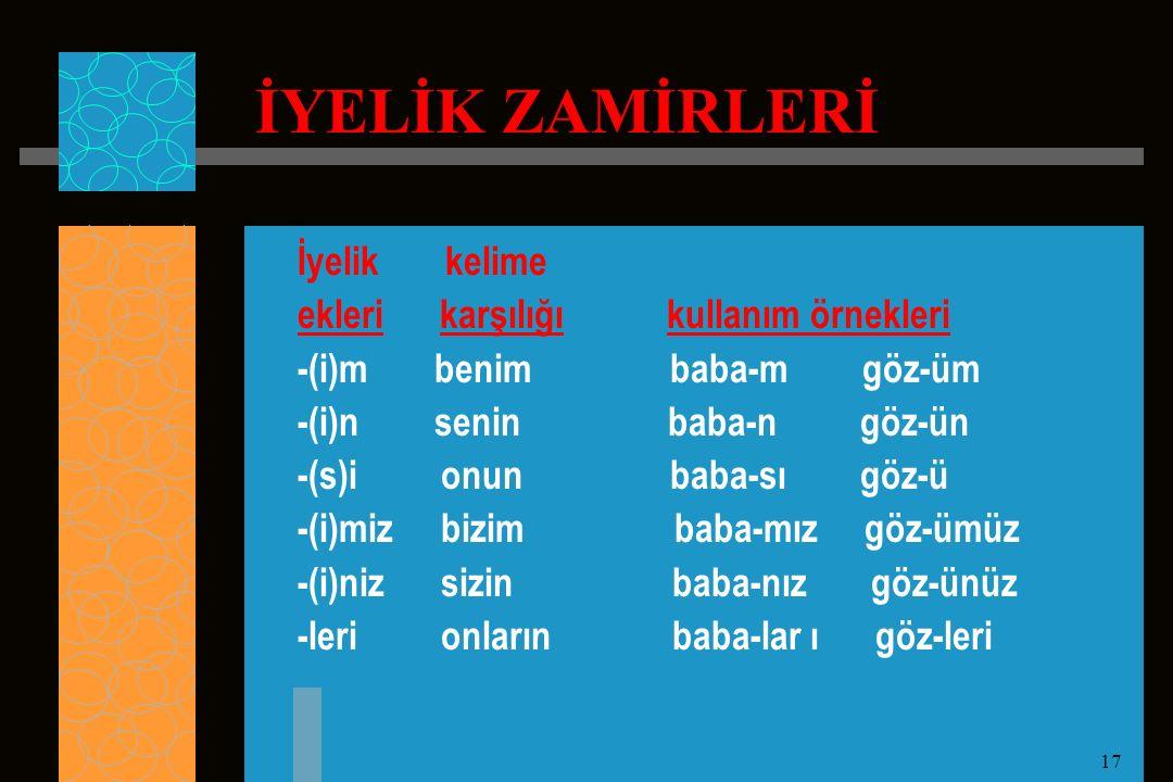 17 İYELİK ZAMİRLERİ İyelik kelime ekleri karşılığı kullanım örnekleri -(i)m benim baba-m göz-üm -(i)n senin baba-n göz-ün -(s)i onun baba-sı göz-ü -(i