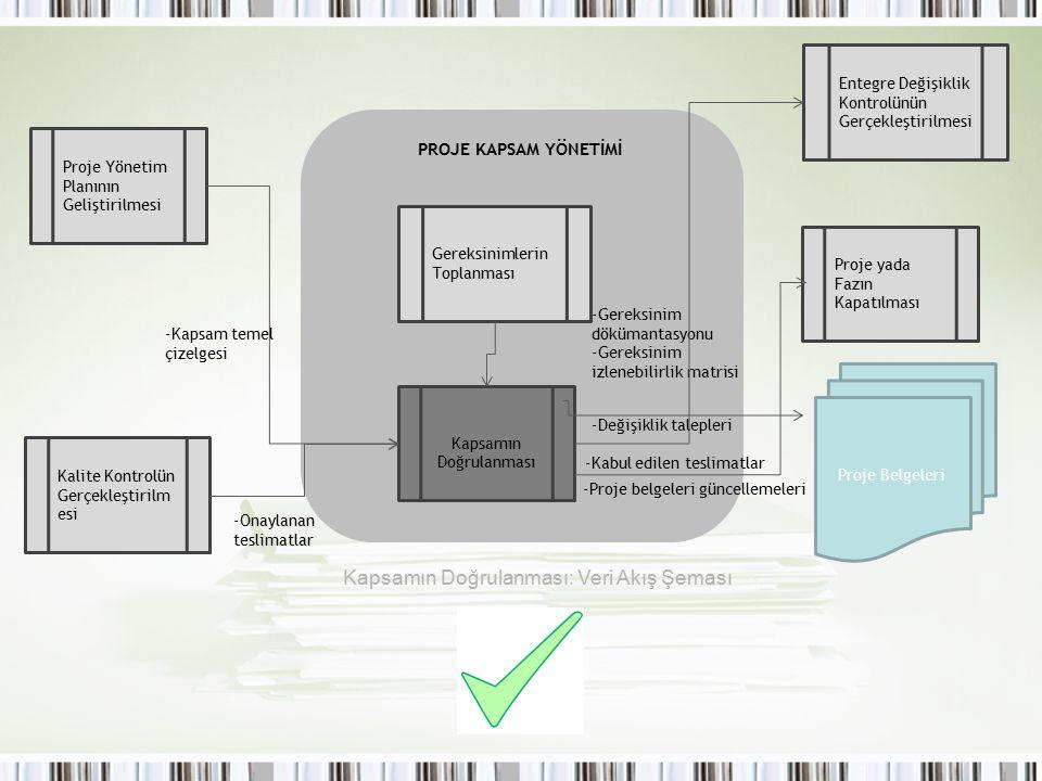 Kapsamın Doğrulanması Gereksinimlerin Toplanması Proje Yönetim Planının Geliştirilmesi Kalite Kontrolün Gerçekleştirilm esi Entegre Değişiklik Kontrol