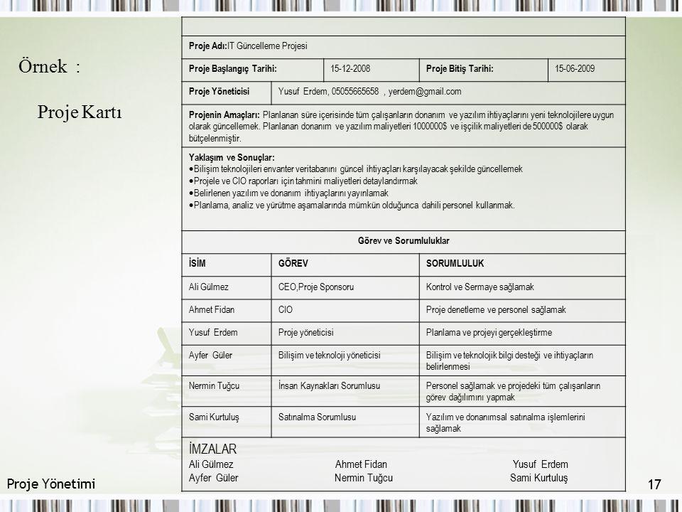 Örnek : Proje Kartı Proje Adı: IT Güncelleme Projesi Proje Başlangıç Tarihi: 15-12-2008 Proje Bitiş Tarihi: 15-06-2009 Proje Yöneticisi Yusuf Erdem, 0