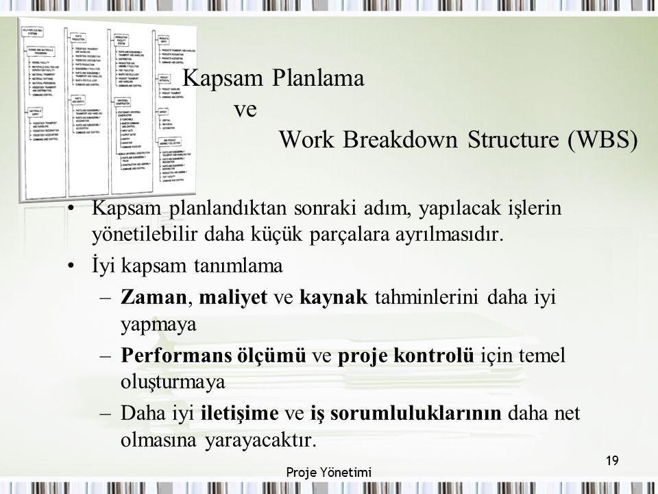 Kapsam Planlama ve Work Breakdown Structure (WBS) Kapsam planlandıktan sonraki adım, yapılacak işlerin yönetilebilir daha küçük parçalara ayrılmasıdır