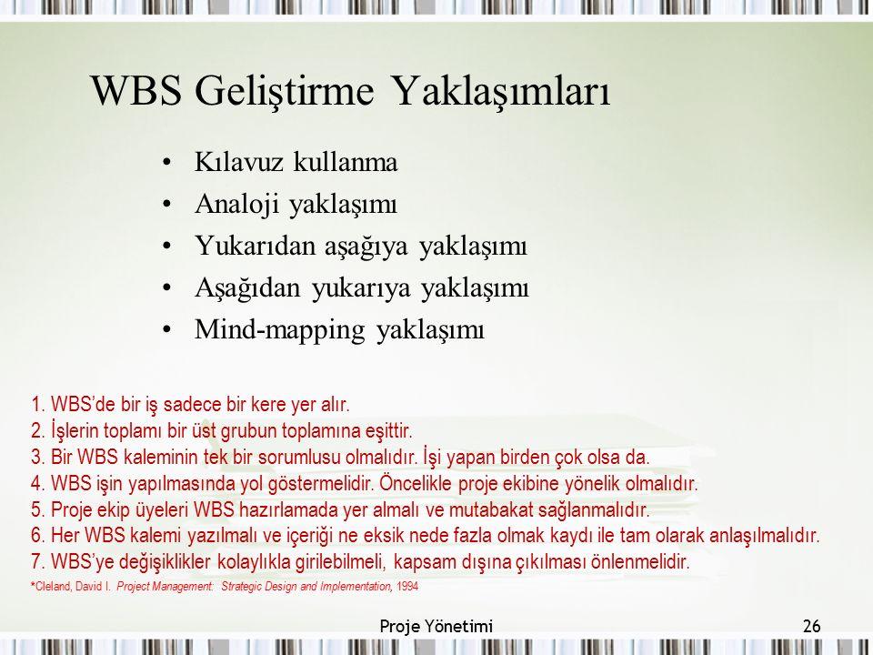 WBS Geliştirme Yaklaşımları Kılavuz kullanma Analoji yaklaşımı Yukarıdan aşağıya yaklaşımı Aşağıdan yukarıya yaklaşımı Mind-mapping yaklaşımı 26Proje