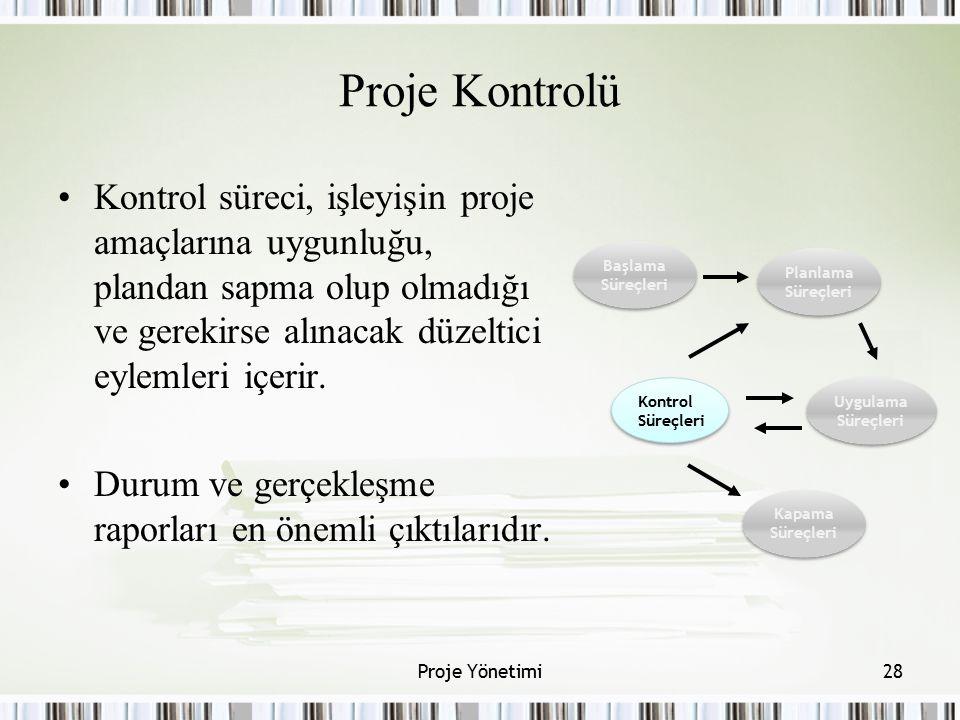 Proje Kontrolü Kontrol süreci, işleyişin proje amaçlarına uygunluğu, plandan sapma olup olmadığı ve gerekirse alınacak düzeltici eylemleri içerir. Dur