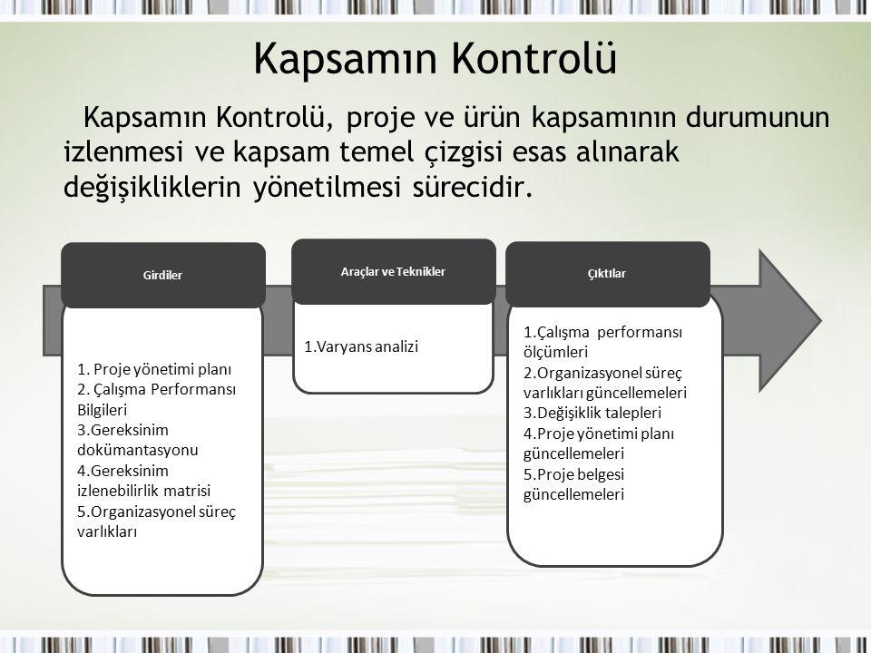 Kapsamın Kontrolü Kapsamın Kontrolü, proje ve ürün kapsamının durumunun izlenmesi ve kapsam temel çizgisi esas alınarak değişikliklerin yönetilmesi sü