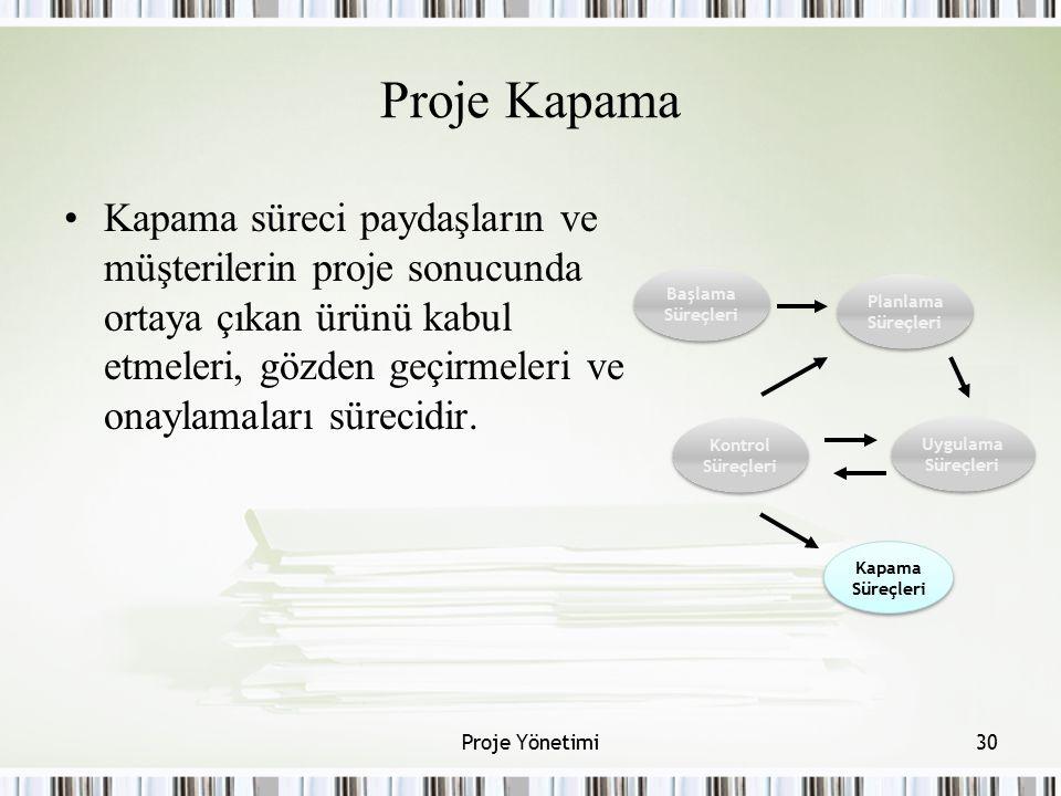 Proje Kapama Kapama süreci paydaşların ve müşterilerin proje sonucunda ortaya çıkan ürünü kabul etmeleri, gözden geçirmeleri ve onaylamaları sürecidir