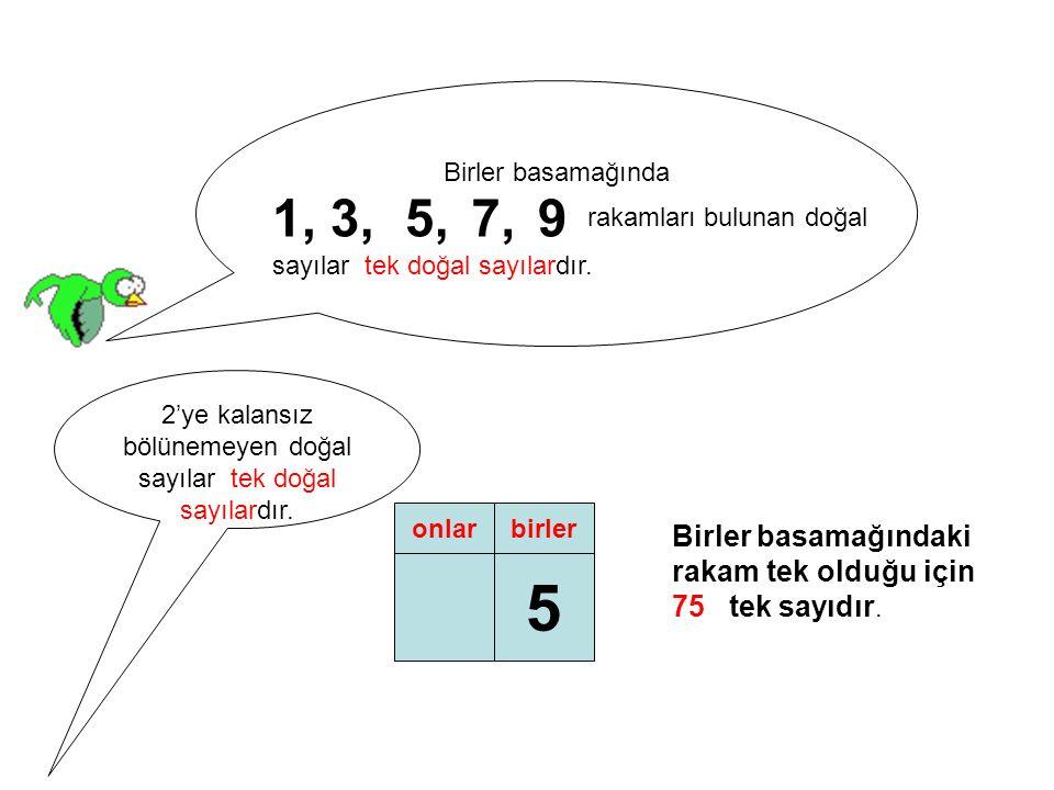 Birler basamağında 1,3,5,7,9 rakamları bulunan doğal sayılar tek doğal sayılardır.