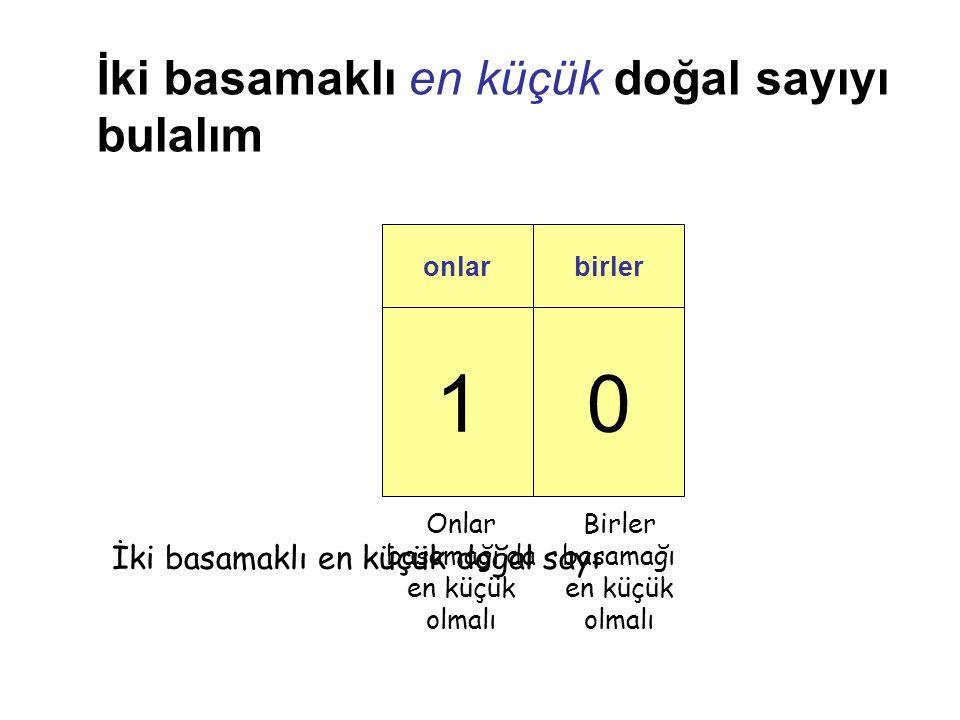 10 onlarbirler İki basamaklı en küçük doğal sayıyı bulalım Birler basamağı en küçük olmalı Onlar basamağı da en küçük olmalı İki basamaklı en küçük doğal sayı