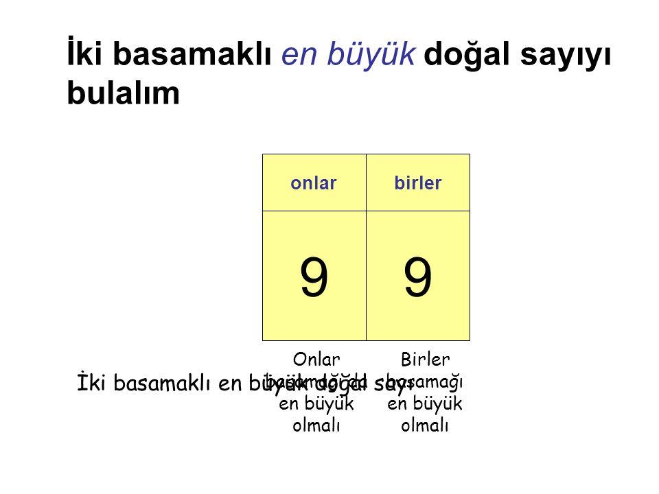 99 onlarbirler İki basamaklı en büyük doğal sayıyı bulalım Birler basamağı en büyük olmalı Onlar basamağı da en büyük olmalı İki basamaklı en büyük doğal sayı