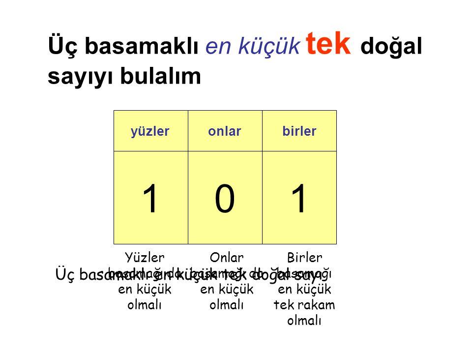 101 yüzleronlarbirler Üç basamaklı en küçük tek doğal sayıyı bulalım Birler basamağı en küçük tek rakam olmalı Onlar basamağı da en küçük olmalı Yüzler basamağı da en küçük olmalı Üç basamaklı en küçük tek doğal sayı