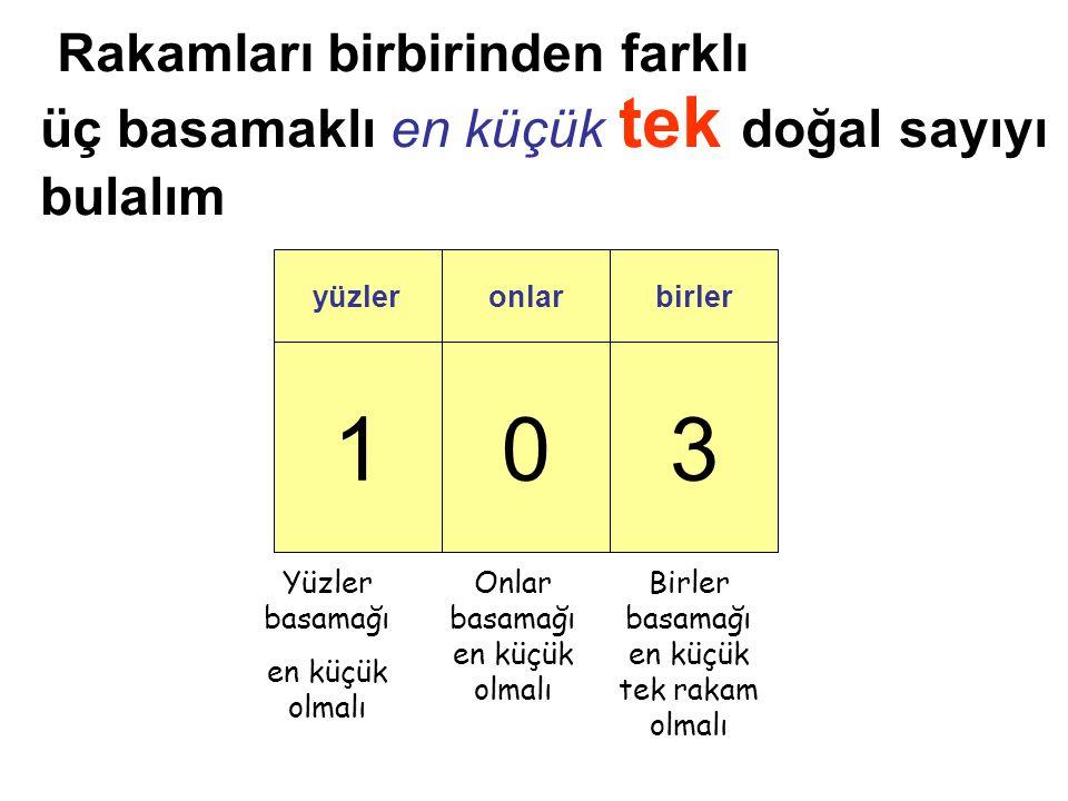 103 yüzleronlarbirler üç basamaklı en küçük tek doğal sayıyı bulalım Birler basamağı en küçük tek rakam olmalı Onlar basamağı en küçük olmalı Yüzler basamağı en küçük olmalı Rakamları birbirinden farklı