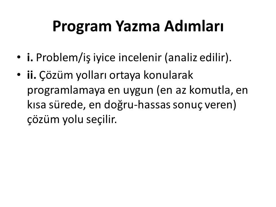 Program Yazma Adımları i. Problem/iş iyice incelenir (analiz edilir). ii. Çözüm yolları ortaya konularak programlamaya en uygun (en az komutla, en kıs