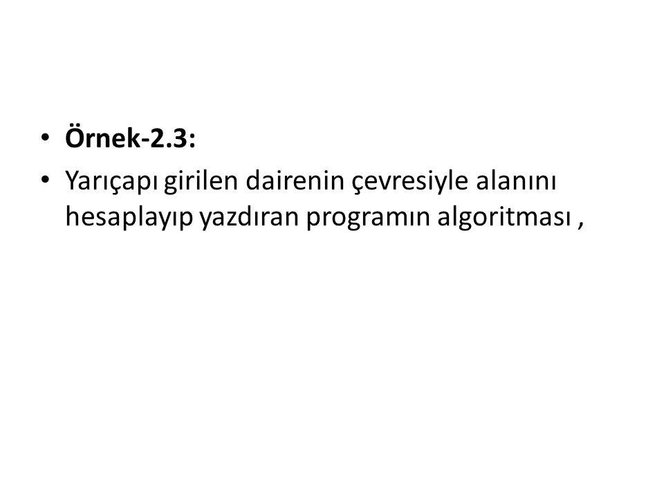 Örnek-2.3: Yarıçapı girilen dairenin çevresiyle alanını hesaplayıp yazdıran programın algoritması,