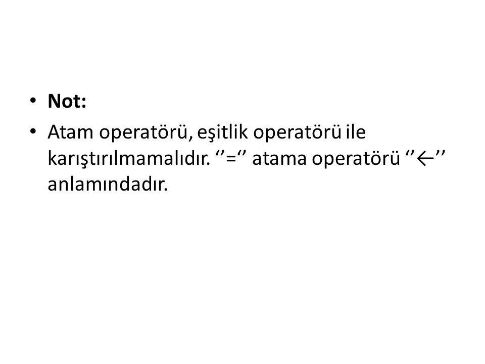 Not: Atam operatörü, eşitlik operatörü ile karıştırılmamalıdır. ''='' atama operatörü ''←'' anlamındadır.