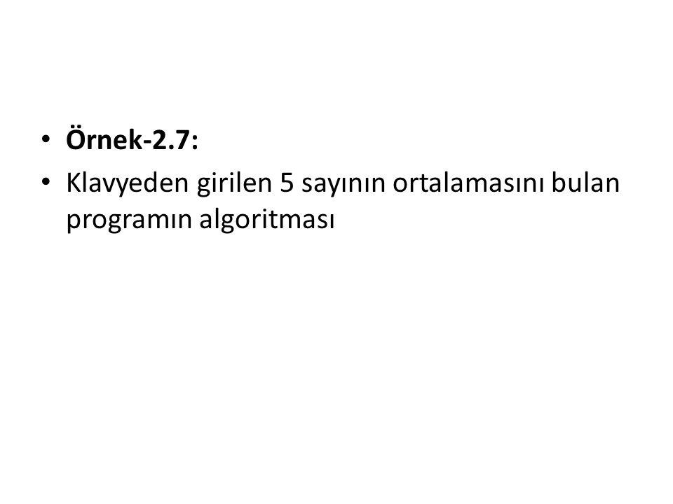 Örnek-2.7: Klavyeden girilen 5 sayının ortalamasını bulan programın algoritması