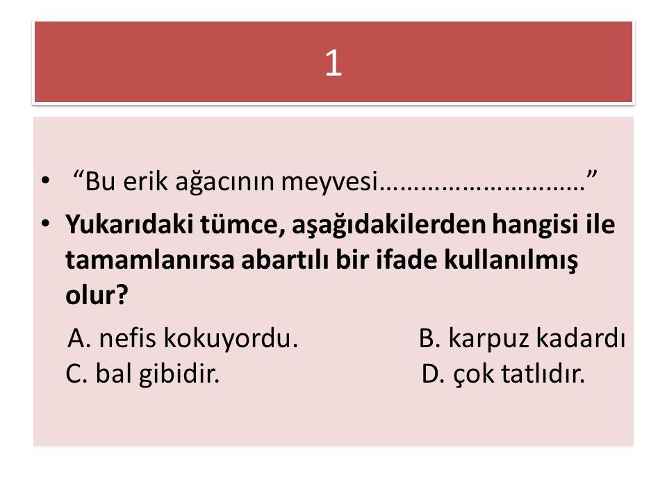 """1 1 """"Bu erik ağacının meyvesi…………………………"""" Yukarıdaki tümce, aşağıdakilerden hangisi ile tamamlanırsa abartılı bir ifade kullanılmış olur? A. nefis koku"""