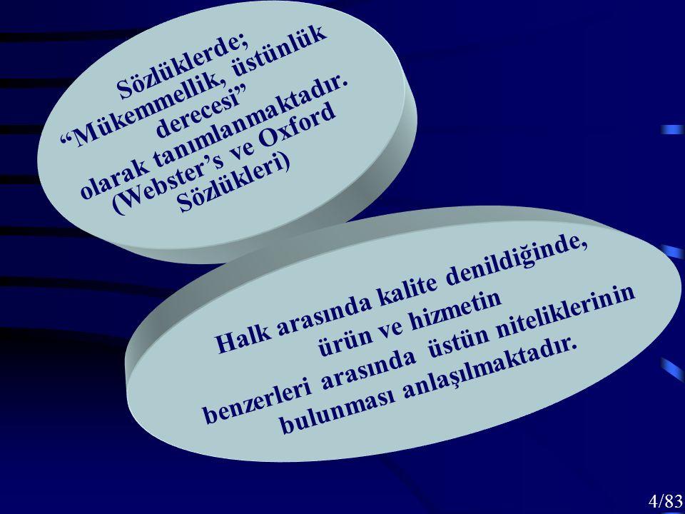 14/83 Toplam Kalite Yönetimi Kuruluşa sistem bütünlüğü içinde yaklaşmayı, Paylaşılan vizyon oluşturmaya dayalı liderliği, İnsanları değil, süreçleri sorgulayan süreç yönetimi anlayışını Kapsamaktadır.