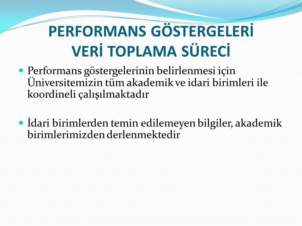 PERFORMANS GÖSTERGELERİ VERİ TOPLAMA SÜRECİ Performans göstergelerinin belirlenmesi için Üniversitemizin tüm akademik ve idari birimleri ile koordinel