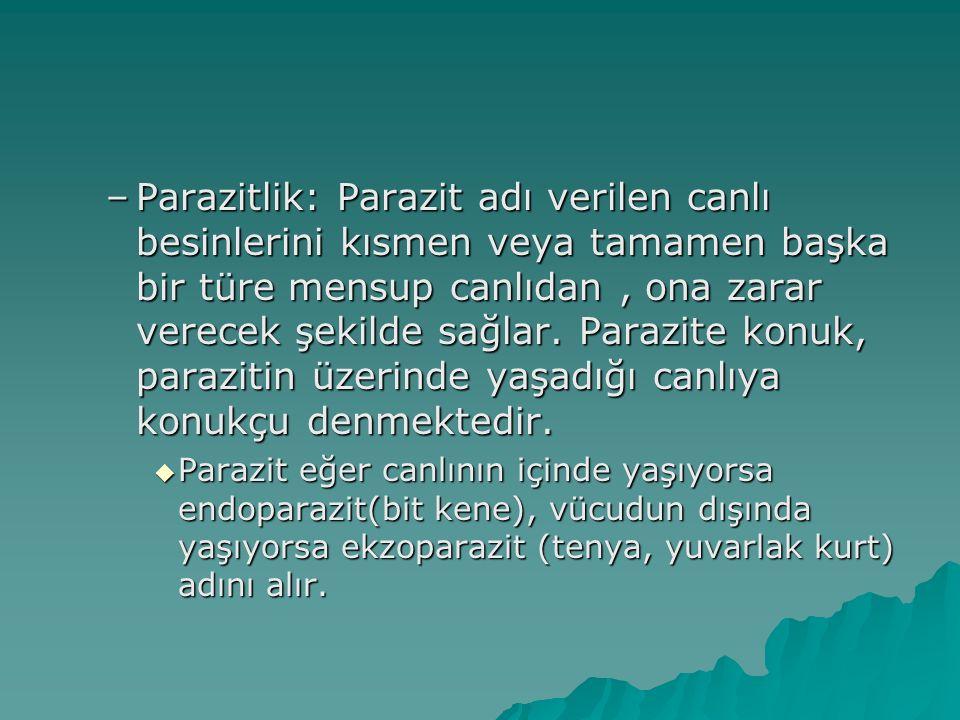 –Parazitlik: Parazit adı verilen canlı besinlerini kısmen veya tamamen başka bir türe mensup canlıdan, ona zarar verecek şekilde sağlar. Parazite konu