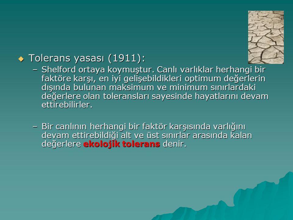  Tolerans yasası (1911): –Shelford ortaya koymuştur. Canlı varlıklar herhangi bir faktöre karşı, en iyi gelişebildikleri optimum değerlerin dışında b