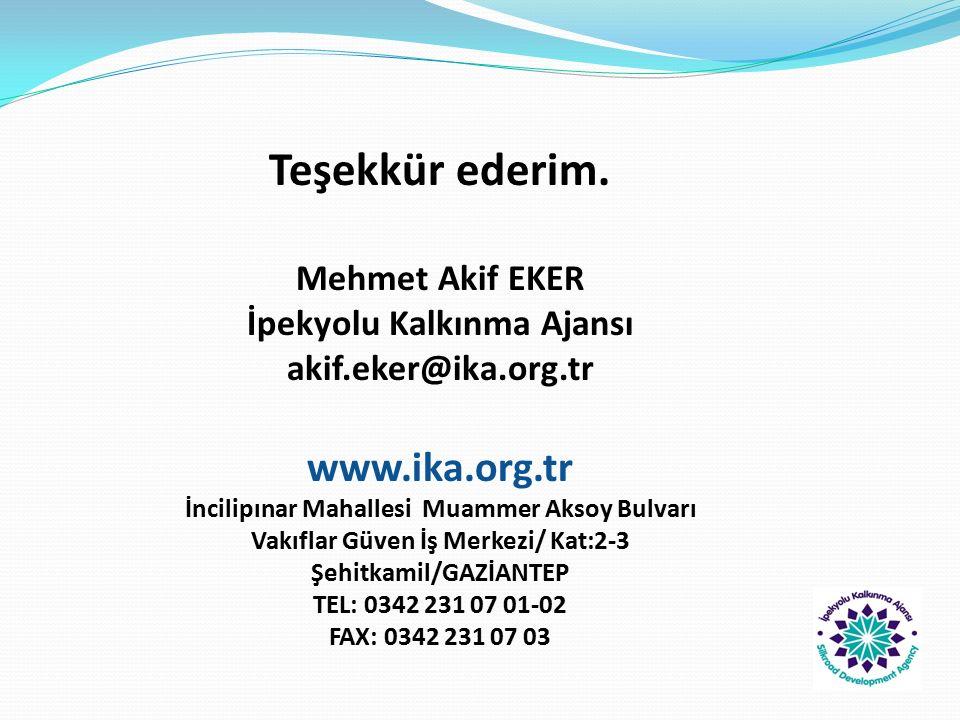 Teşekkür ederim. Mehmet Akif EKER İpekyolu Kalkınma Ajansı akif.eker@ika.org.tr www.ika.org.tr İncilipınar Mahallesi Muammer Aksoy Bulvarı Vakıflar Gü