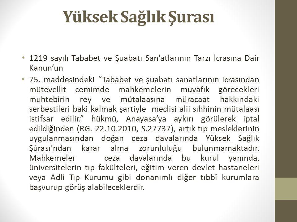 Yüksek Sağlık Şurası 1219 sayılı Tababet ve Şuabatı San atlarının Tarzı İcrasına Dair Kanun'un 75.