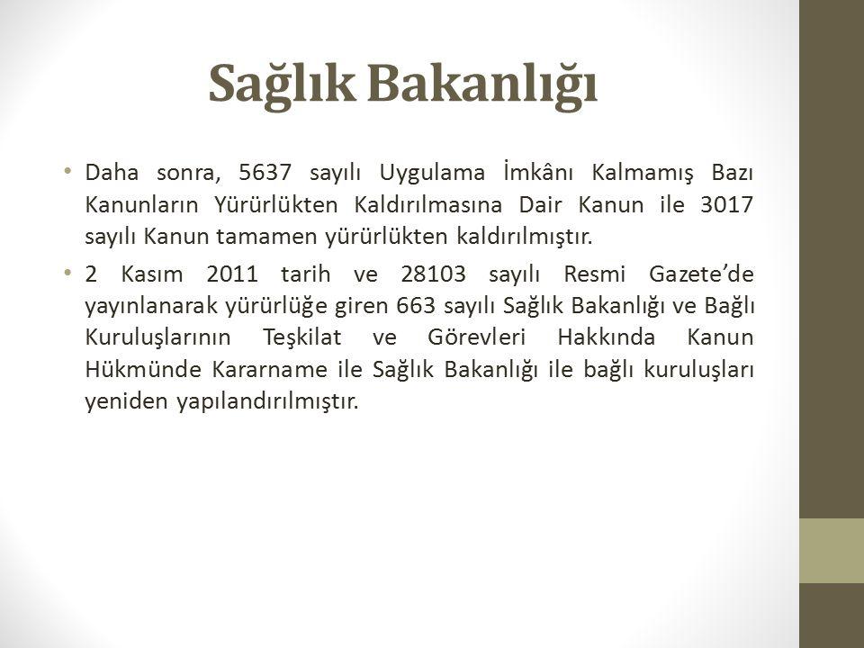 Sağlık Bakanlığının Görevleri 663 sayılı Kanun Hükmünde Kararnamenin 2.