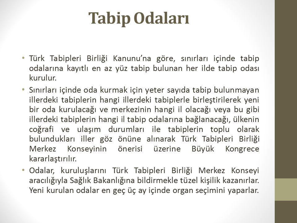 Tabip Odaları Türk Tabipleri Birliği Kanunu'na göre, sınırları içinde tabip odalarına kayıtlı en az yüz tabip bulunan her ilde tabip odası kurulur.