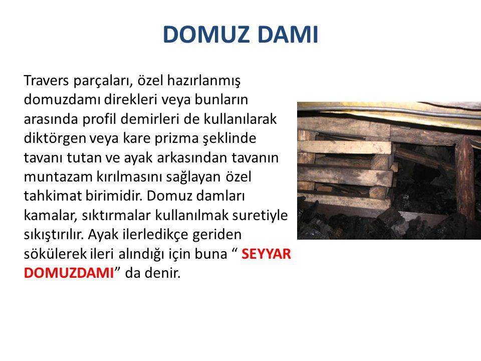 DOMUZ DAMI Travers parçaları, özel hazırlanmış domuzdamı direkleri veya bunların arasında profil demirleri de kullanılarak diktörgen veya kare prizma şeklinde tavanı tutan ve ayak arkasından tavanın muntazam kırılmasını sağlayan özel tahkimat birimidir.