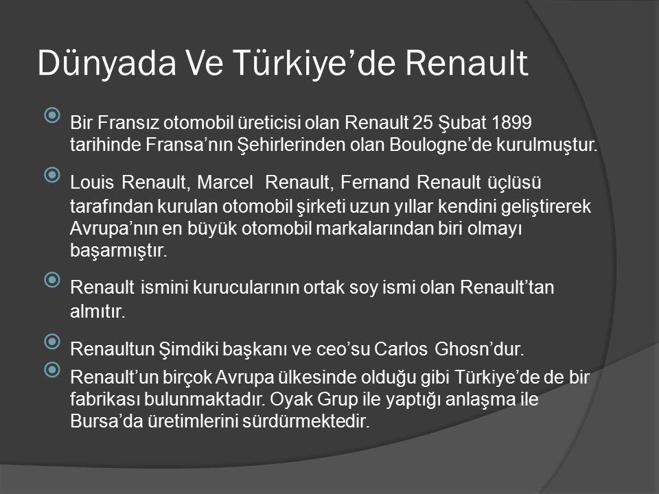Dünyada Ve Türkiye'de Renault  Bir Fransız otomobil üreticisi olan Renault 25 Şubat 1899 tarihinde Fransa'nın Şehirlerinden olan Boulogne'de kurulmuş