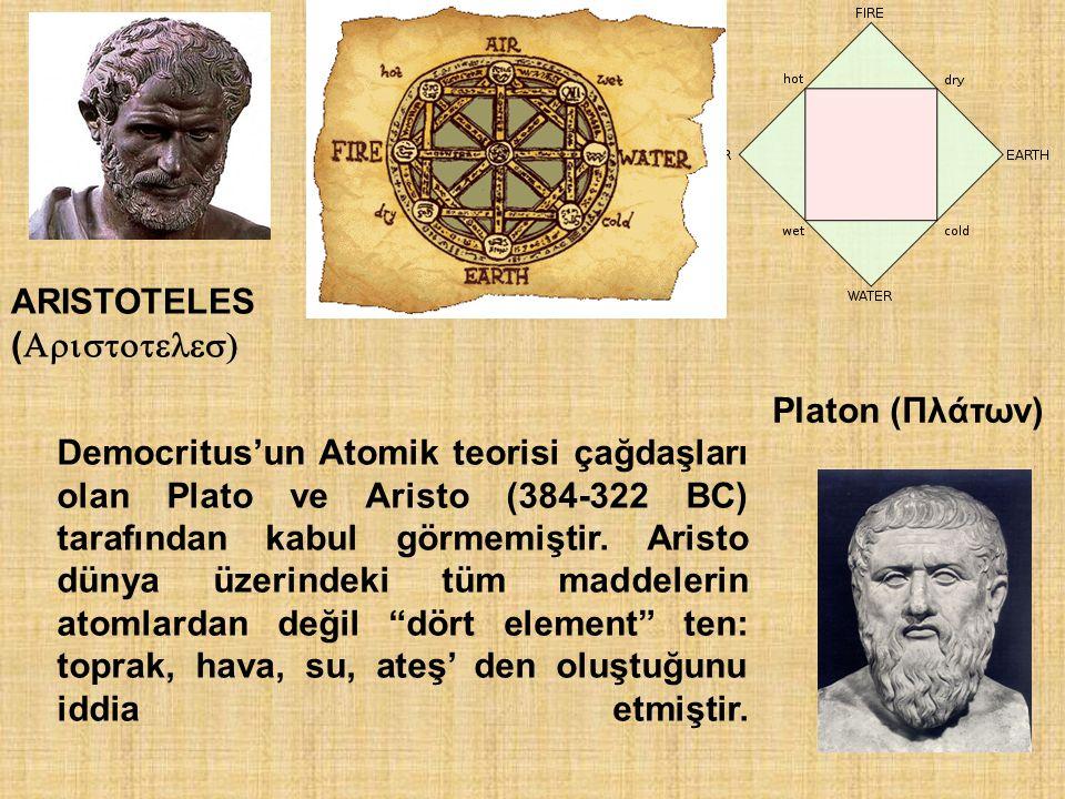 ARISTOTELES (  Platon (Πλάτων) Democritus'un Atomik teorisi çağdaşları olan Plato ve Aristo (384-322 BC) tarafından kabul görmemiştir. Aris