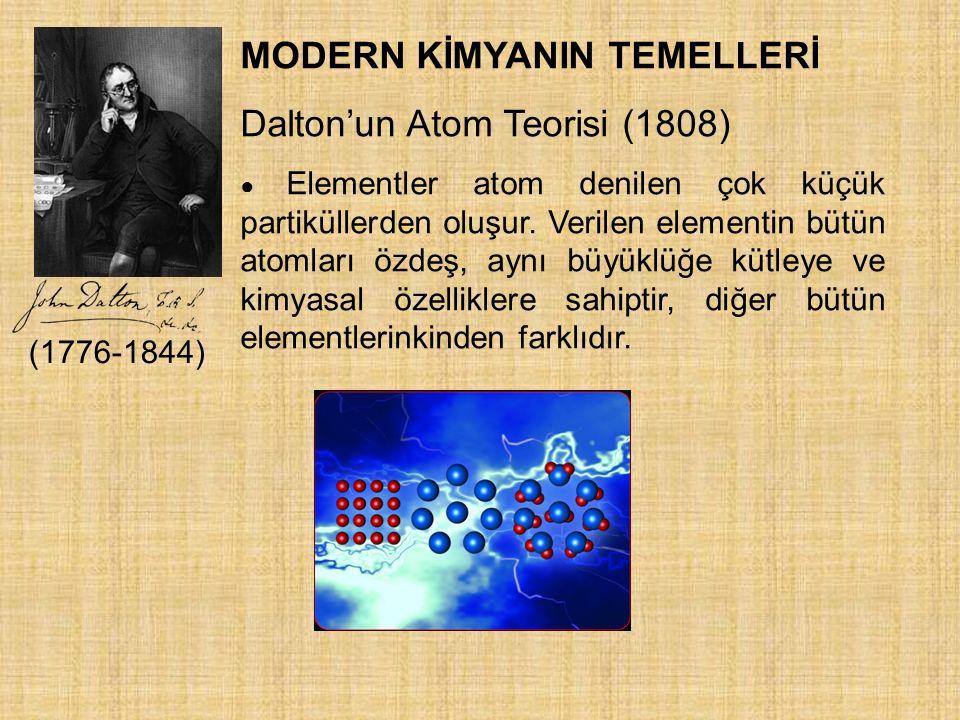MODERN KİMYANIN TEMELLERİ Dalton'un Atom Teorisi (1808) ● Elementler atom denilen çok küçük partiküllerden oluşur. Verilen elementin bütün atomları öz