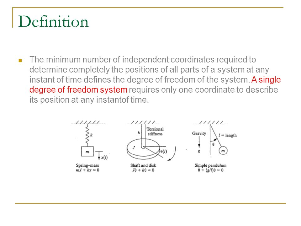 Single degree of freedom system For the simple pendulum in the figure, the motion can be stated either in terms of θ or x and y.