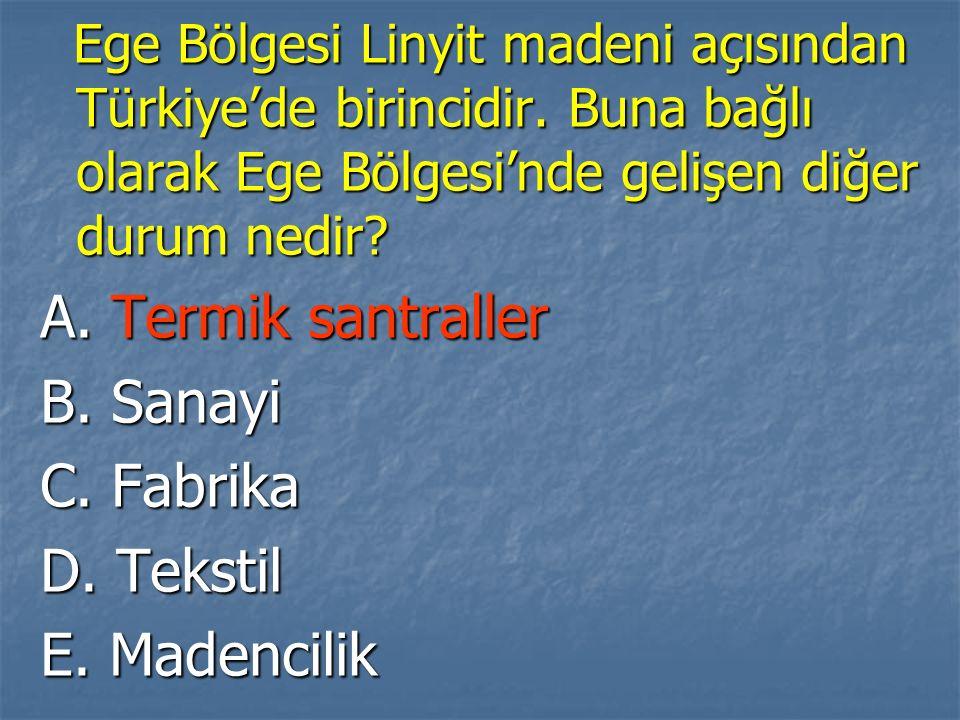 Ege Bölgesi Linyit madeni açısından Türkiye'de birincidir.